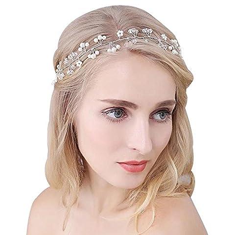 DUUMY Braut Hochzeit Kopfschmuck Perle Blume Kristall Twist Handgefertigten Weichen Kette Reifen Zaun , 3
