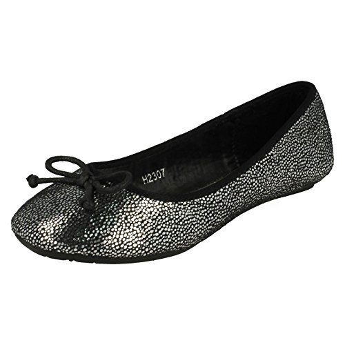 Girls Spot On Chaussures – H2307 Black/Silver