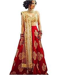 7249d4d9bd066 MotherCreation Women's RedTaffeta Silk Embroidered Lehenga Choli Free Size  (Red Diamond)