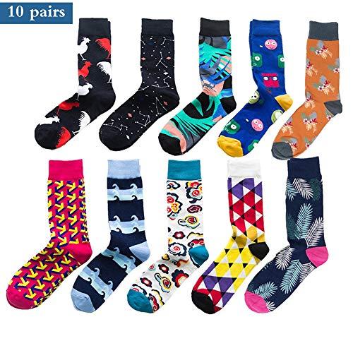 DZOUP Socken Herren Lustige Socken 10er Pack Bunt Gemustert Socken Crew Socken Cotton Comfort Kleid Kalbs Socken Größe 41-46