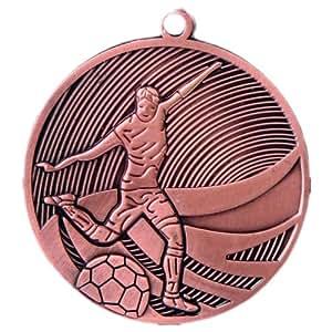 10 Stück Medaille Bronze Fußball aus Stahl, 50 mm x 3 mm MD12904