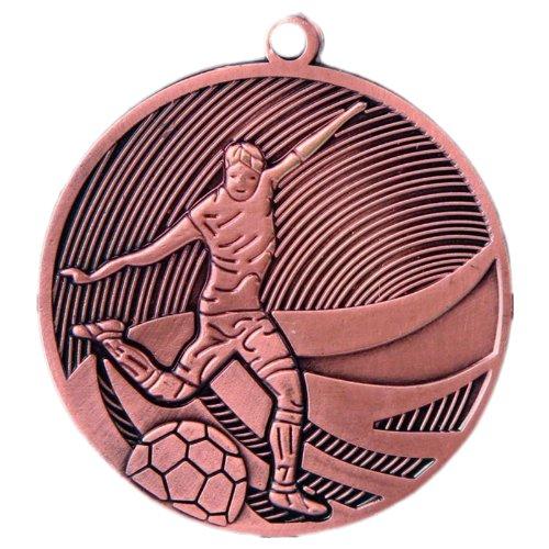 pokalspezialist 10 Stück Medaille Bronze Fußball aus Stahl 50 mm x 3 mm Old -