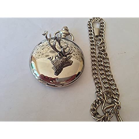 A22-Tailed di testa di cervo, in argento lucido, colore: Bianco, Confezione regalo orologio da taschino al quarzo, made in sheffield