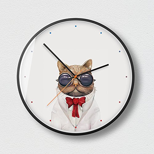 HMEI Cowboy Garfield Wanduhren Modern Style Silent Sweeping 12,0 Zoll große Zifferblatt Quarzuhr...