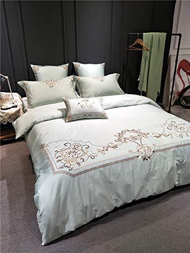 XMDNYE Reine Farbe 60 Satin Lange Baumwolle Baumwolle Vier Stück 1,8 M Bett Aus Reiner Baumwolle Stickerei Quilt Bettwäsche, Chloe 4 Stück, 1,5 M (5 Fuß) Bett -
