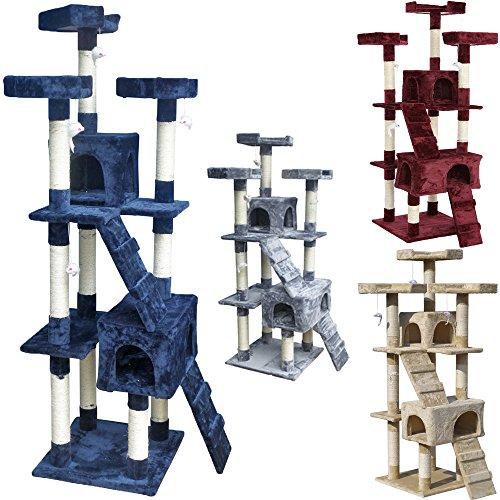 Beltom Rascador Afilador Uñas para Gatos Árbol Escalador Mascota Rascarse Juego 170 cm - Azul