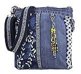 Sunsa Damen Tasche Umhängetasche Handtasche klein Canvas bag mit Jeans und Leder Vintage Design...
