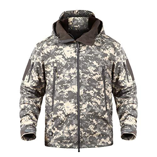 YuanDiann Homme Tactique Camouflage Veste Softshell Automne Hiver Outdoor Armée Militaire Polaire Doublée Blouson Imperméable Coupe A Capuche Randonnée Chasse Manteau