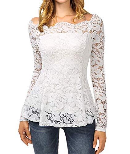 b0157f8f56 Tkiames Mujeres Camisetas Manga Larga Blusas de Encaje Flores Lace Crochet  sin.