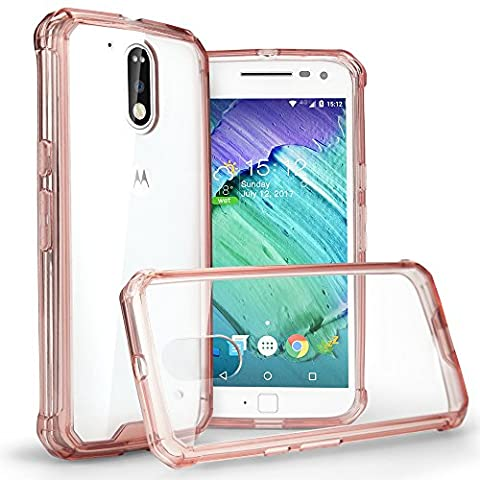 Moto G4 Case,Air Cushion Shockproof TPU Bumper Clear PC Hard Back Protective Case for Moto G4 (2016) -- Pink
