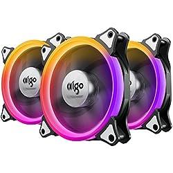 Aigo RGB Ventola PC 120mm, Ventola di Raffreddamento CPU LED 4 Pin Silenziosa Cooling Fan Bassa Rumorosità e Elevata Pressione Statica Computer Case Fan con 42 Generi LED (3-Pack)