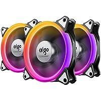 AIGO Ventilador PC 120mm RGB CPU Fan (3-Pack) 4 Pines Refrigeración Ventiladores Silenciosos Ordenador Caja Acción de Enfriamiento Rápido con Soporte con 42 Tipos LED