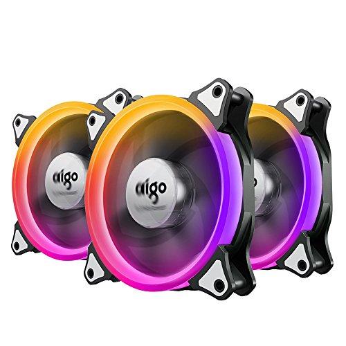 Aigo RGB Lüfter PC 120mm Kühler Kühler Kühler CPU LED 4 Pin leise Cooling Fan Bassa Geräuschpegel und Hohe Statische Computer Case Fan mit 42 Generi LED (3-Pack)