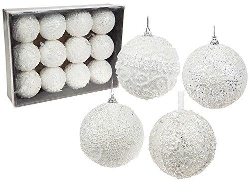 12natale bianco crochet style glitter palle natalizie 80mm festive decorazioni per albero di natale da appendere tradizionale regalo party