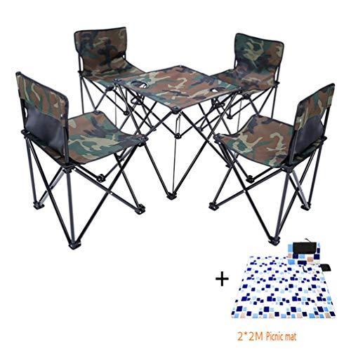 ZIHENGUO Ultralight Klappstuhl und Tisch 5er Set, kompakte tragbare Stühle für Outdoor Camp, Reisen, Strand, Picknick, Wandern, Angeln,ASets