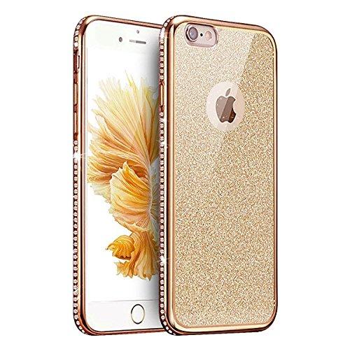 Apple iPhone 6 Plus Custodia Protettiva,iPhone 6 Plus Cover in TPU,Etsue 2016 Nuovo design Transparente Ultra Slim Morbido Soft Gel in Silicone Rose Oro Gold Cornice Marvel Disegni Elegante Bella Flor Oro