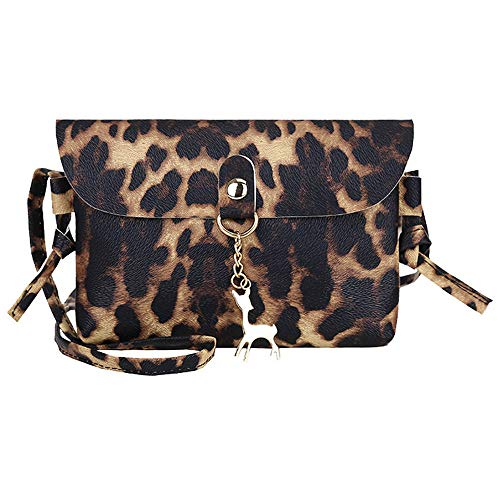 Katsaz Damen Leopard Drucken Umhängetasche Mit Kitz Anhänger Frau Schultertasche Handtasche (Brown)