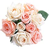 Pauwer Fleurs de roses artificielles 9 têtes de faux bouquet de roses en soie bouquet de mariage fête de mariage maison jardin bricolage décoration