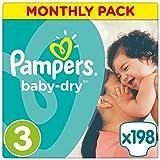 Pampers Baby Dry - Pañales para bebés, Talla 3 (5-9kg), 198 unidades