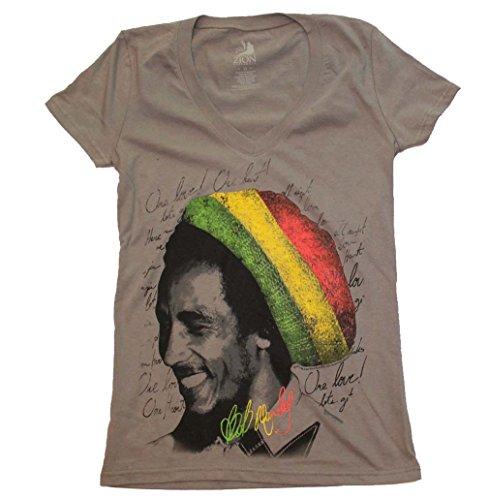 Bob Marley Rasta Tam V-Neck Junior's Tee Medium Rasta Tam