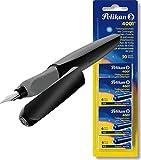 Pelikan 946814 Füller Twist, universell für Rechts- und Linkshänder, Feder M, schwarz + Tintenpatronen Reserve 5x 6Stück