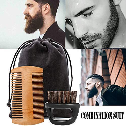 Bartbürste gaddrt Bartpflege für Männer Bart Bart Brush + eine Kombination aus Schnurrbart-Kamm (Ford Hunter Tom)
