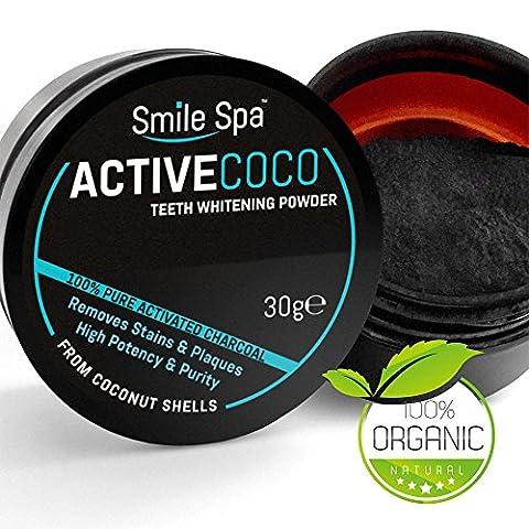 ☆ SMILE SPA ☆ Aktivkohle Pulver aus der Kokosnuss | ActiveCoco Activated Charcoal (active carbon coco coal) | Zur Zahnaufhellung | natürlich, ohne Chemikalien | Bleaching | Weiße Zähne | Active Coco | Teeth
