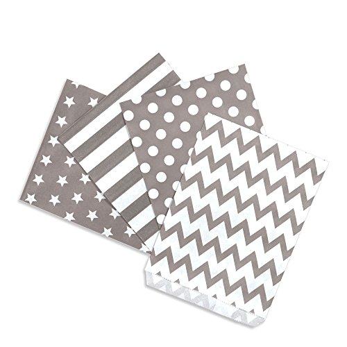 Papiertüten Mix taupe / helles grau, 4 Designs zu je 25 Stück / Geschenktüten / Candy Paper Bags (Candy Bags)
