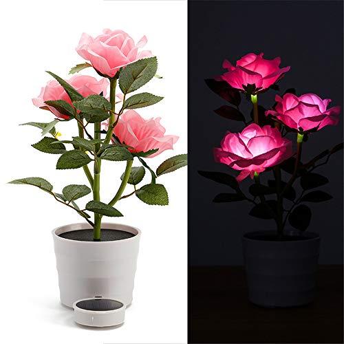 (TianranRT Solar Rose Blume Beleuchtung LED Künstlich Rose Topf Blume Bonsai LED Lampe (Rosa))