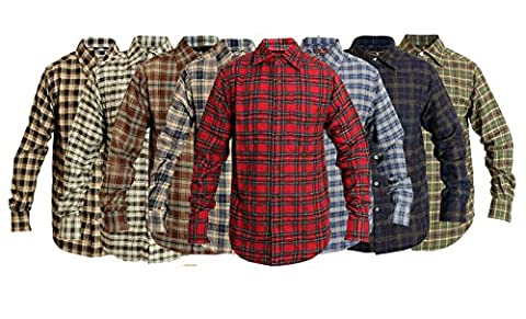 ROCKBERRY Classics Mens Check Shirt Brushed Cotton Boys Casual Shirts