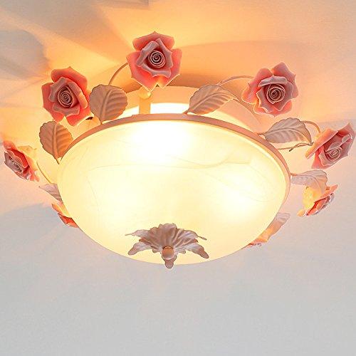 Glas Lampe Deckenleuchte pastoralen Stil Blumen rosa Rosenblüten warme und romantische Ehe Zimmer Schlafzimmer Leuchte48 * 14 Cm Romantische Bad-accessoires