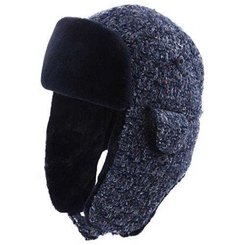 SIGGI Damen Fliegermütze Winter Warme Pilotenmütze mit Kunstfell Wintermütze Schwarzblau