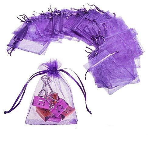 JZK® 50 x Klein lila Organza Saeckchen Süßigkeiten Beutel Geschenk Schmuckbeutel Geschenk Bags mit Drawstring, für Hochzeit Geburtstag Taufe Party Babyparty Baby Shower, 12 x 9cm - Lila 9