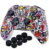 YoRHa D'impression Silicone Housse Silicone Couverture Skin Peau Coques Cas pour Xbox One S / X Manette x 1 (Beau Graffiti) avec Capuchon de Joystick Poignées PRO Thumb Grip x 8