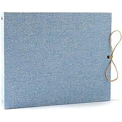 CHIDUAN Album Photos, Lin Traditionnel Scrapbook Album, DIY Adhesif Mariage Livre d'or 60 Page Noires, Original Cadeau Anniversaire Noël pour Amis, Famille, Enfants (Bleu Clair)