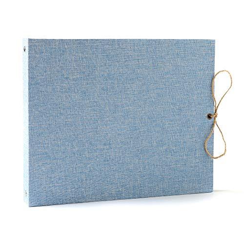 Chiduan scrapbooking album foto, lino album fotografico fai da te vintage album di foto 60 pagine nere,idee regalo di compleanno di natale originale per amici,famiglia,bambini (azzurro)