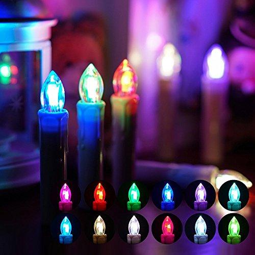 10 luci led a candela per albero di natale, candele dell'albero di natale, luci natalizie candela con telecomando rgb