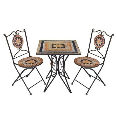 3tlg. Mosaik Sitzgarnitur Gartengarnitur Terrassenmöbel Balkonmöbel Sitzgruppe 2x Klappstuhl Mosaiktisch 60x60cm