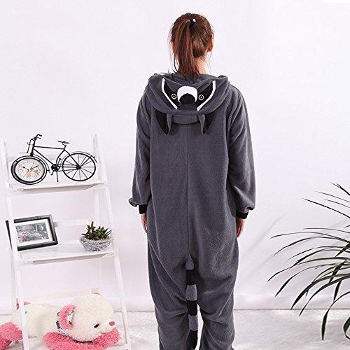 wotogold Tier Waschbär Pyjama Unisex Erwachsene Cosplay Kostüme Grau