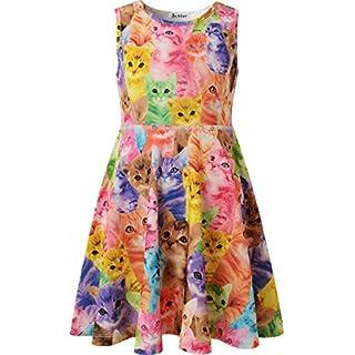 JXStar kleinen Mädchens Klassische Tiere Gedruckt ärmellos Sommer Kleid Katze 130