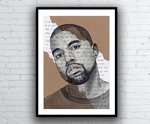Kanye West Portrait - signed Giclée art print with Can't tell me nothing Lyrics Background - A5 A4...