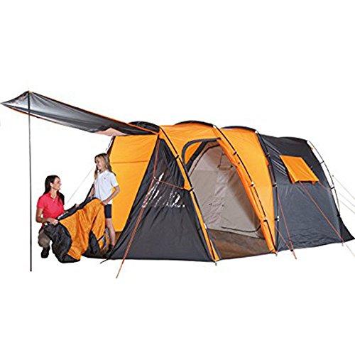 Tunnelzelt 4 Personen Zelt I besonders wasserdicht I 4000 mm Wassersäule I Stehhöhe 185 cm I Setzt ganz neue Maßstäbe im Camping und Outdoor Bereich als Familienzelt Gruppenzelt Campingzelt