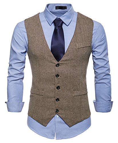 WHATLEES Herren Tweed Kariert Weste - Schmale mit Zweireihige Knopfleiste BA0082-khaki-XXL - Tweed Vintage-anzug