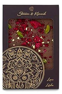 Mandala Liebe 70 gr. - Hochwertige in Handarbeit hergestellte edle Milchschokolade - Schokolade mit kandierte Rosenblätter, Himbeeren und Pistazien, verziert mit 23 Kt. Gold
