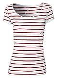 YTWOO Damen Gestreiftes Rundhals-Shirt Aus 100% Bio-Baumwolle mit Querstreifen in Kontrastfarben Weiß Rot, Weiß Blau, Organic Cotton (XL, Weiß/Rot)
