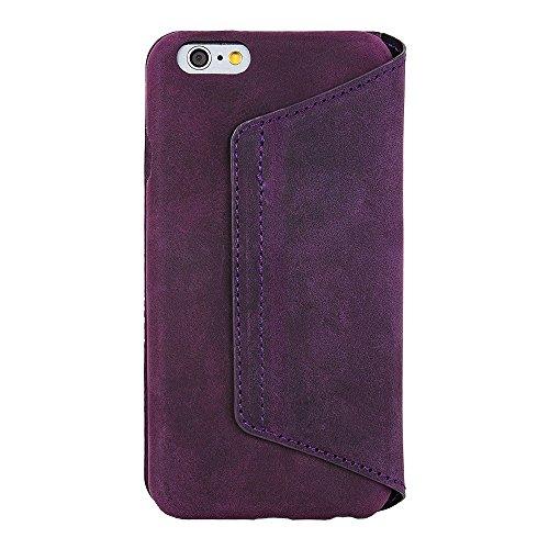 Antic iPhone 6/6S–iPhone 6Plus Wallet en cuir luxe Case Étui avec fonction support et porte-cartes Pan Ordinateur Portable lilas