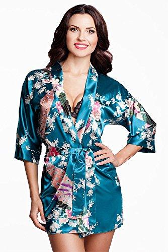 Edler Morgenmantel Kimono aus Satin türkis Größe M