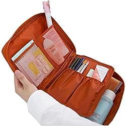 Multifunción viaje de maquillaje cosmético bolsa de aseo de la caja del organizador del almacenaje de lavado (Naranja)