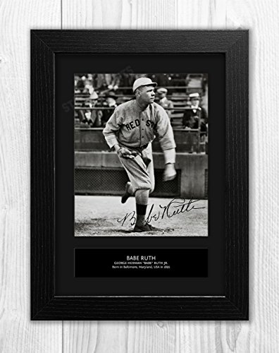 Star Prints UK Babe Ruth - Baseball MLB 1 MT - signiertes Autogramm Reproduktion Foto A4 Schwarzer Rahmen