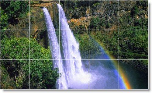 IMAGEN DEL MURAL CASCADAS MATALAN W060  36 X 152 4 CM CON (15) 12 X 12 AZULEJOS DE CERAMICA